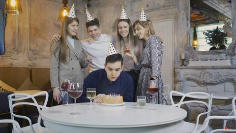 Friends Congratulate Birthday Man Footage