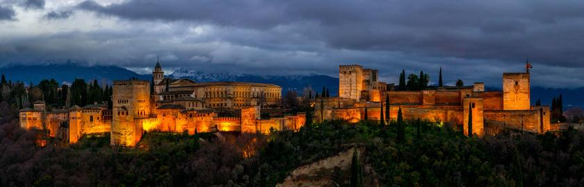 Alhambra of Granada. Night view Photo