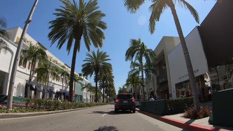 Driving on Rodeo Drive in Beverly Hills - LOS ANGELES. USA - MARCH 18, 2019 Live Action