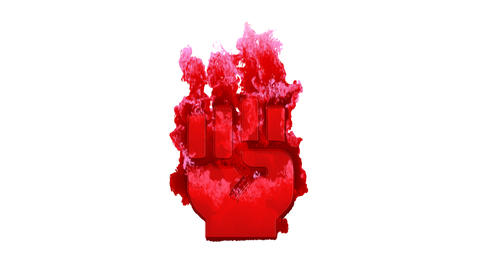 Symbol fist raised inflames with dark fire, then burns. In - Out loop. Alpha channel Premultiplied - Animation