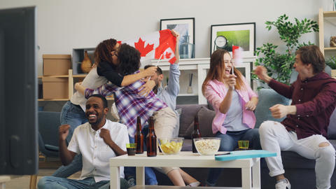 Canadian youth with flags watching sports on TV doing high-five and hugging Live Action