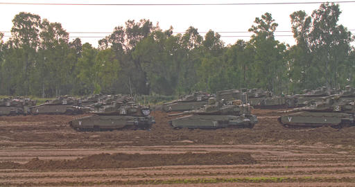Gaza, April 6th 2019. IDF tanks lined up in combat formation near the border Footage