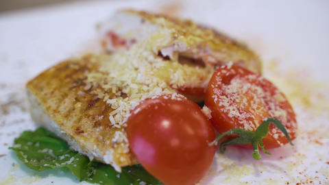 Chicken Steak With Tomato And Cheese Stock Video Footage
