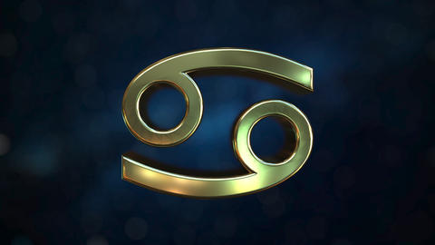 Rotating gold Cancer Zodiac sign, loopable 3D animation Footage
