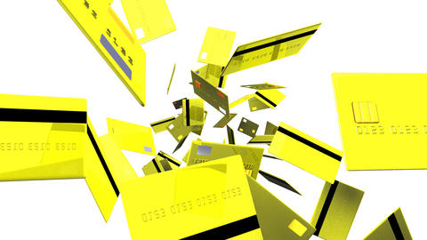 Yellow Credit cards on white background Animation