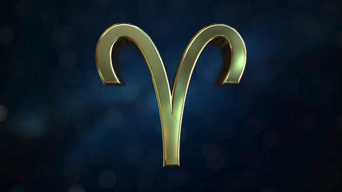 Rotating gold Aries Zodiac sign, loopable 3D animation Footage