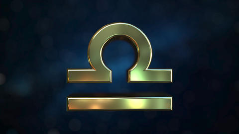 Rotating gold Libra Zodiac sign, loopable 3D animation Footage