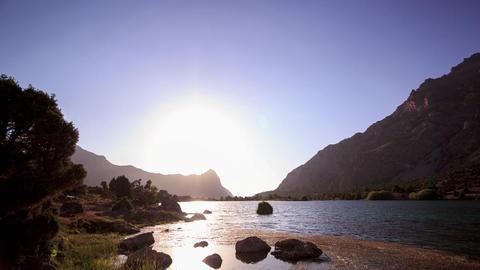 Glitch effect. Day follows night, Kulikolon lakes. Tajikistan. Time Lapse Footage