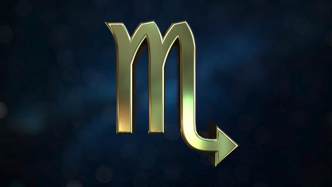 Rotating gold Scorpio Zodiac sign, loopable 3D animation Footage