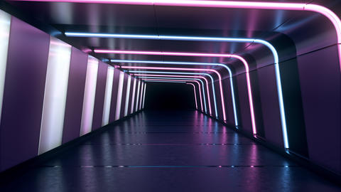 Moving forward inside an endless tunnel with glowing blue... Stock Video Footage