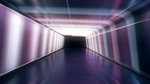 Moving forward inside an endless tunnel with glowing blue and pink neon lines plus white lamps Animation