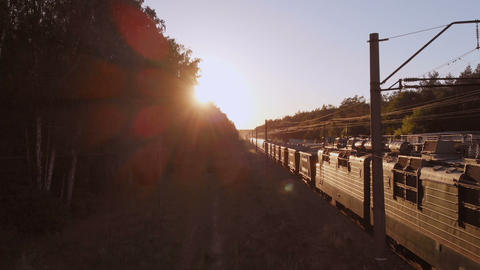 Modern train transporting cargo wagons with coal in forest at sunset in slo-mo Footage