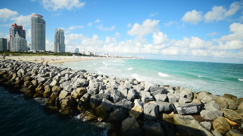Panoramic view of Miami Beach shore seen from South Pointe Pier. Southern Florid Live Action