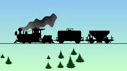 The train moves across the wooded countryside. Cartoon video Animation