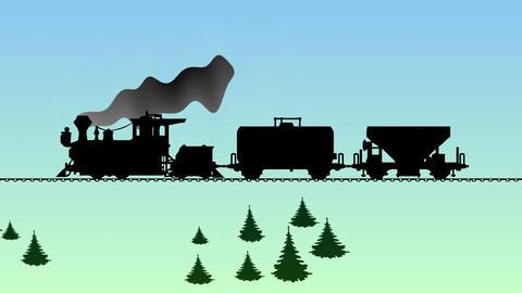 The train moves across the wooded countryside. Cartoon video Animación