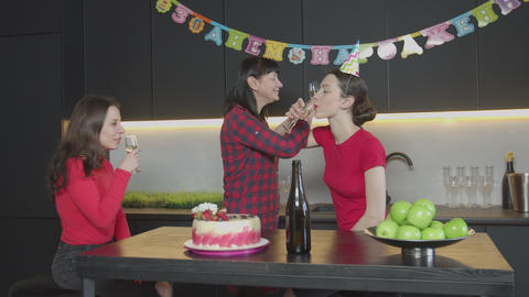 Proud mom congratulating daughter with Birthday Footage