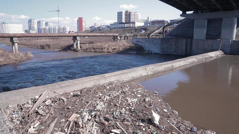 Dirty city water 001 Footage