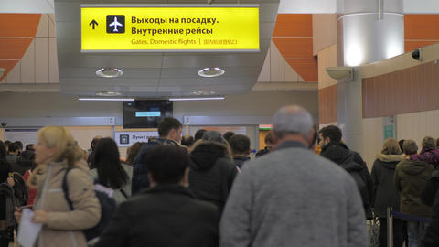 Passengers at gates of domestic flights in Terminal D of Sheremetyevo Airport Footage