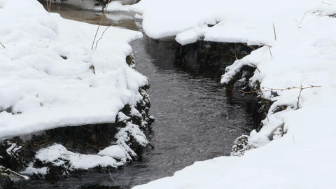 creek under the snow camera motion Footage