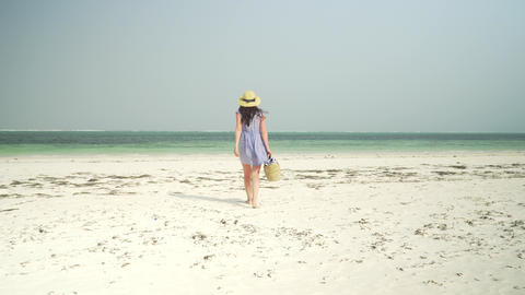 Young woman walks barefoot on beach towards ocean Live Action