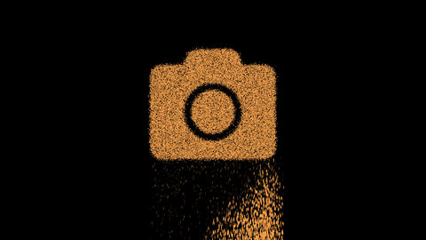 Symbol photo camera appears from crumbling sand. Then crumbles down. Alpha channel Premultiplied - Animation