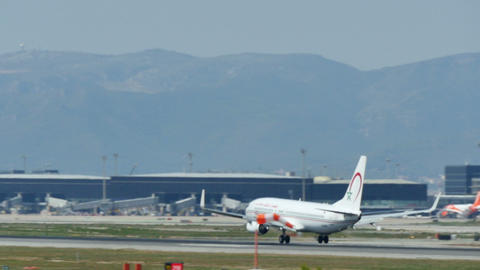 Commercial airliner landing at Barcelona International Airport Live Action