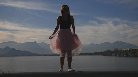 Fashion lifestyle portrait of young woman in tulle skirt Footage