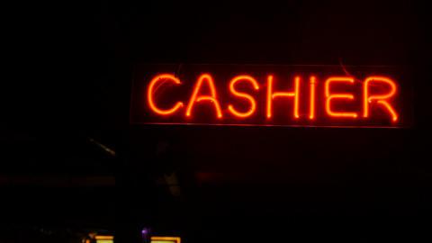 Neon cashier sing banner Footage