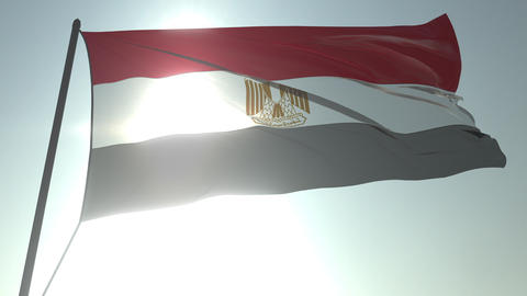 Waving flag of Egypt against shining sun and sky. Realistic loopable 3D Footage