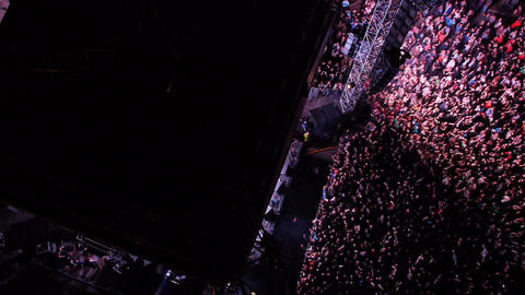 Crowd of people jumping at the house music festival Footage