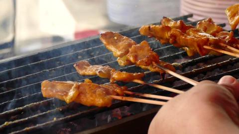 Street Food Pork Satay 2 Footage