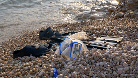 Snorkeling equipment at the beach Footage
