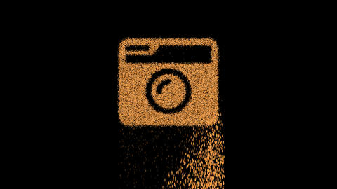 Symbol camera retro appears from crumbling sand. Then crumbles down. Alpha channel Premultiplied - Animation