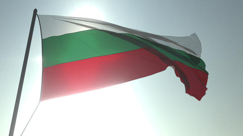 Waving flag of Bulgaria against shining sun and sky. Realistic loopable 3D Footage
