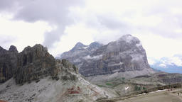Quick fog in the rocks of the dolomites Footage