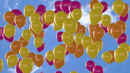 Seamless looping animation of rising orange yellow and pink balloons Animation