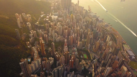 Aerial view of Hong Kong Downtown, Republic of China. Financial district and business centers in Live Action
