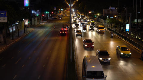 Timelapse, a busy crossroad in the business district. Car... Stock Video Footage