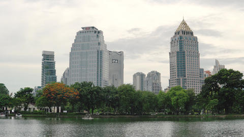 View of tall office buildings from Lumpini Park. Large lake in the famous Park Live Action