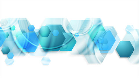 Bright blue glossy hexagons abstract video animation Animation