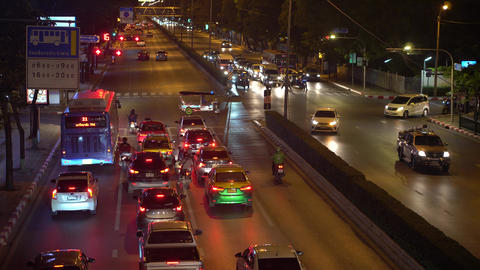 Timelapse, busy traffic on the crossroads in downtown. Traffic jams on a busy GIF
