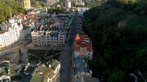 Aerial shot of residential community with restored historic buildings Footage