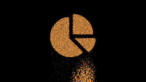Symbol chart pie appears from crumbling sand. Then crumbles down. Alpha channel Premultiplied - Animation