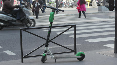 Moped Electric Scooter For Clean Urban Mobility In Paris France Footage