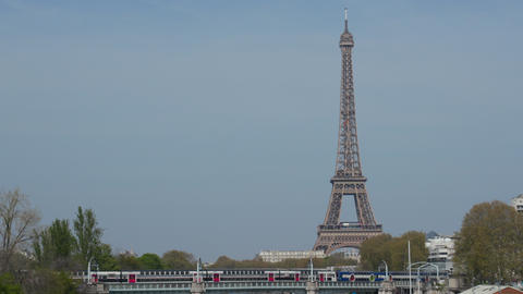 Urban View Of Paris France With Eiffel Tower And Train GIF