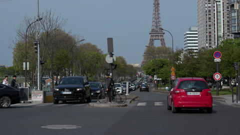 Boulevard Street With Cars Traffic Eiffel Tower In Paris France Footage