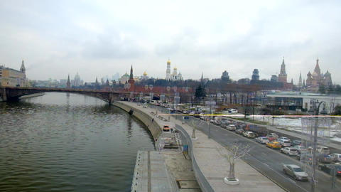 Moscow Kremlin, a historic place in central Moscow Footage