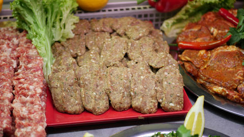 Fresh Minced Meat with Ingredients and Vegetable for Cooking Live Action