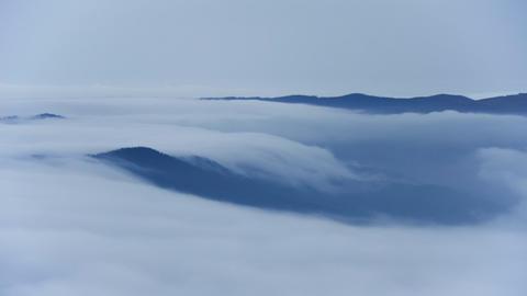 Cascade of clouds. Sea of clouds in mountainous landscape, Oiz mount basque Footage