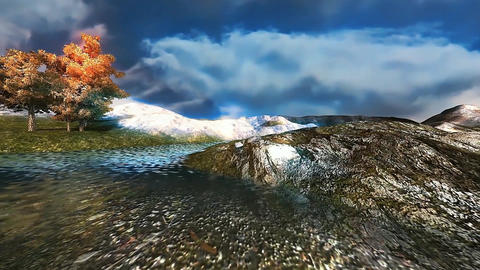 15 3D panoramic animated landcape with tree, mountain, and stream Animation